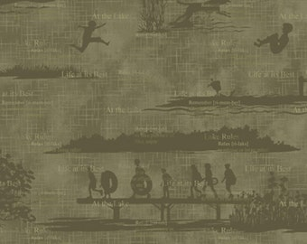 Olive green, Better at the lake, 8608, Henry Glass & Co, multiple quantity cut in 1 piece, 100% Cotton