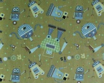 Robot, beige, 100% cotton, cotton quilt, cotton designer