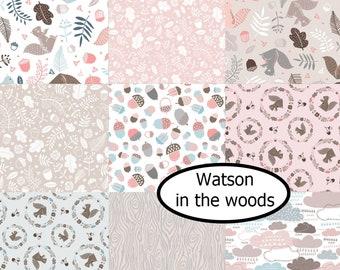 Bundle, 9 prints, Watson in the woods, Camelot Fabrics, Bundle, 1 of each print