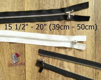 "Zipper, DETACHABLE, 15 1/2"" - 20"", (39cm - 50cm), zipper, silver metal, nylon, for clothing, repair, Z39-5"