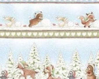 Snowman, teddy bear, squirrel, fox, Snow Day, 7552, Timeless Treasures
