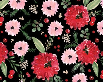 Winter Floral, black, 26180206J, col 02, Camelot Fabrics, 100% Cotton, (Reg 2.99-17.99)