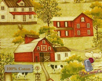 Farmhouse, cow, sheep, Henry Glass, multiple quantity cut in one piece, 100% Cotton