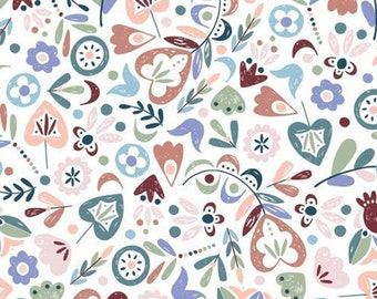 Scattered botanicals, Turtle Cove, 21190603, col 01, Camelot Fabrics, 100% Cotton