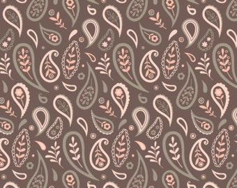 Paisley, dark taupe, 2144702-03, Camelot Fabrics, multiple quantity cut in one piece, 100% Cotton