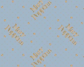 Mary Poppins, gold metallic, bleu, 85460104L, col 03, Camelot Fabrics, cotton, cotton quilt, cotton designer