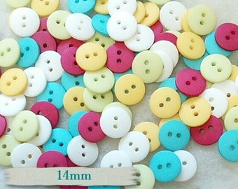 12 Buttons, 14mm, plastic, turquoise, fuschia, white, yellow, lime, BA08