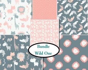 BUNDLE, 6 prints, 1 of each, Wild One, Camelot Fabrics, cotton