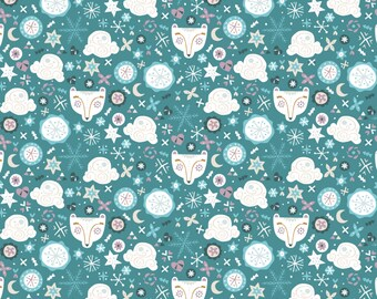END OF BOLT, Snow Fall, Bear Faces, 4240405, col 01, Camelot Fabrics, multiple quantity cut in one piece, 100% Cotton