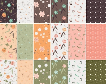 """18 FQ, 1/4 yard, 1/2 yard, FE = 9""""X22"""", 1 of each, In the woods, Camelot Fabrics, 100% cotton"""