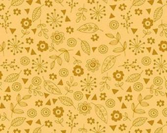 Flower, Gold Yellow, Forest, 2174, Makower, cotton, cotton quilt, cotton designer, (Reg 3.76-21.91)