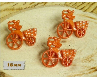 3 Buttons, 16mm, tricycle with basket, orange, Vintage, 1980s, GR05, (Reg 1.80)