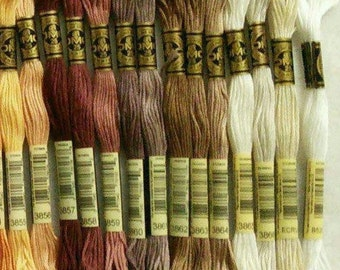 DMC, #3865, 3866, Écru, B5200, Embroidery, thread, DMC, Mouliné 25, art 117 No. 25, 8 meters each skein, cotton