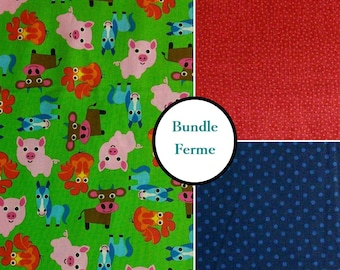 3 prints, Farm, by French Bull, Windham Fabrics,1 of each print, multiple quantity cut in one piece, 100% Cotton