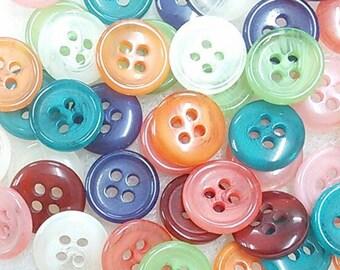 50 Buttons, 12mm, 4 holes, mixt of Pink, coral, orange, lime green, teal, purple, brick ,BA02, (Valeur de 7.50)