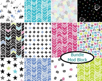 Bundle, 12 prints, Mod Blocks, Camelot Fabrics, 100% Cotton, quilt cotton, (Reg 35.88 - 191.52)