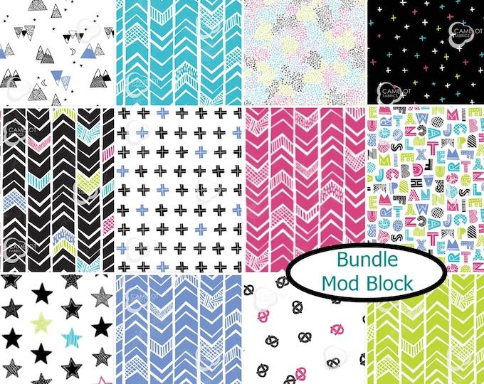Featured listing image: Bundle, 12 prints, Mod Blocks, Camelot Fabrics, 100% Cotton, quilt cotton
