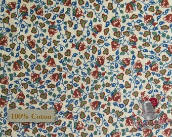 Flower, wine, cream, Borston Commons, Free Spirit, multiple quantity cut in one piece, 100% Cotton, (Reg 2.99-17.99)
