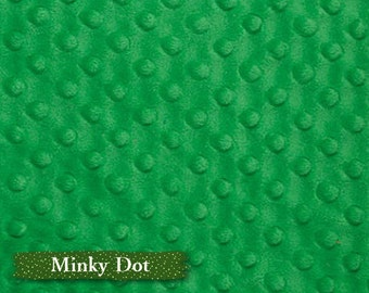 Minky Dot, Vert, 100% polyester, 150cm, (60in), multiple quantity cut in one piece