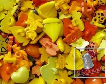 25 Fancy buttons, yellow, orange, dog, turtle, tulip, cherry, frog, bear, boat, heart, etc, BF60,