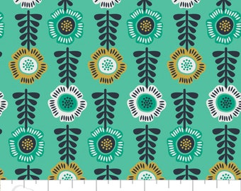 Botanical, flower, aqua, 2240106, Alisse Courter, Camelot Cotton,  will be delivered in one piece, 100% Cotton, (Reg 3.49 - 14.99)