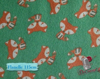 END OF BOLT, Flannel, Fox, aqua background, many yards will be cut as one piece, Flannel 100% high quality cotton