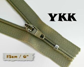 YKK, 15cm, Zipper, Cursor 45C, 15cm, Taupe, 6 Inch, Metal Slider, Zipper, Non-Detachable, vintage, 1980, Z04