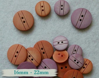4 buttons, 16mm, 22mm, 2 holes, mandarine, orchidée, BM52