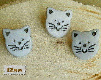 """3 Buttons, Cat, Grey, 1/2 """", 12mm, Polyester, Casein, Vintage, 1980, Fancy Button, Solid Button, BF50"""