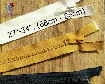 "YKK, DETACHABLE, 27""-34"", (68cm - 86cm), zipper, #5V, varied color, varied size, nylon, for clothing, repair, ZZ03, (Reg 6.59-7.99)"