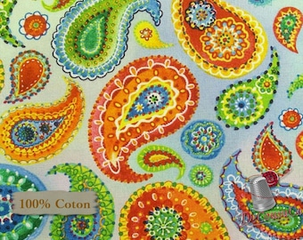 END OF BOLT, Paisley blue, Blank Quilting, Loca Linda, 100% Cotton