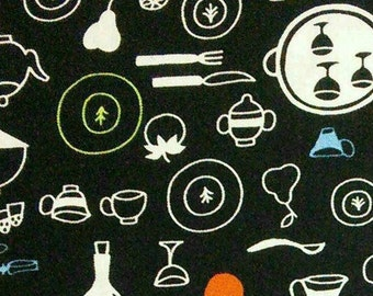 utensil, dishes, fruit, Ink & Arrow Fabrics, multiple quantity cut in one piece, 100% Cotton