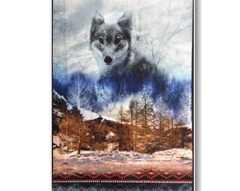 "Panel, Wolf, 27""X44"", (70cmX115cm), 26467, Dakota, Red Rooster, Multiple quantity cut in one piece, 100% Cotton"