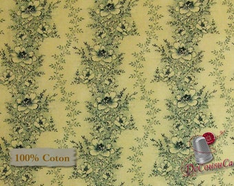 Flower charcoal, cream, Chamberlain, by Nancy Gebe, Windham Fabrics, 41271, 100% cotton