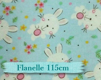 END OF BOLT, Flannel, Rabbit, blue,