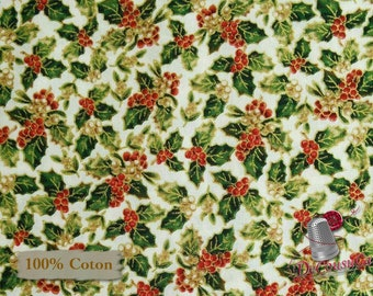 Poinsettia, ivory, Christmas Memories, Washington, 100% Cotton
