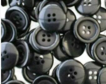12 Buttons, 18mm, black, 4 holes, vintage button, lucite, BA32