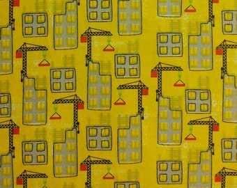 Crane, construction, building, yellow, Édition Fabric, multiple quantity cut in one piece, 100% Cotton
