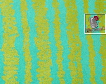 Glitz Bars, turquoise, gold, Michael Miller Fabrics, 6930, multiple quantity cut in one piece, 100% Cotton,