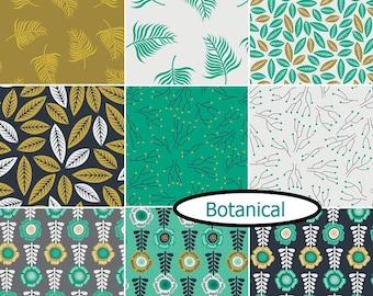 9 FQ, or 9 X 1/4 yard, or 9 X 1/2 yard, 1 of each, Botanical, Camelot Fabrics, cotton