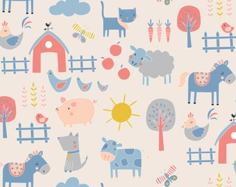 Animals in Light Pink, 21179913, 01, Cluck, Moo, Oink, Camelot Fabrics, 100% Cotton, quilt cotton
