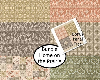 Bundle, 6 prints, Home on the Prairie, Camelot Fabrics, 100% cotton, Bonus: 1 panel FREE