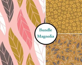 3 prints, Magnolia, Camelot Cotton, FQ, half-yard, bundle, 1 of each print