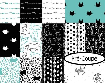 "Square 4"", square 6 1/2"", square 8 1/2"", 1 of each, Meow, Camelot Fabrics, cotton,"
