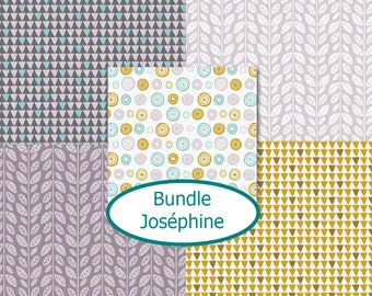 Kit 5 prints, 1 of each print, Joséphine, Bundle, 100% cotton
