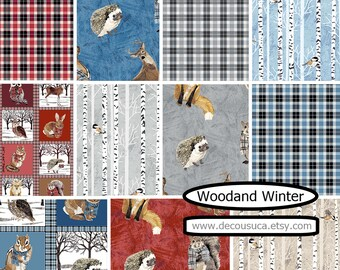 Bundle 11 prints, forest animal fabric, Woodland Winter d'Andover