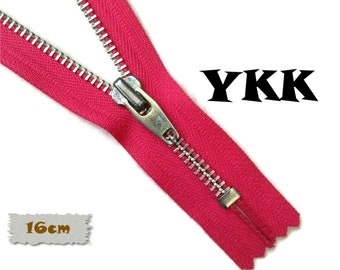 YKK, 16cm, Fuschia, Zipper, Cursor V, 6 Inch, Metal, Zipper, Non-Detachable, vintage, 1980, Z16