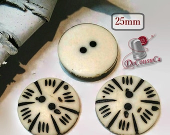 3 Buttons, Wood Look, 25mm, Resin, Beige and Brown, 2 Holes, Button for Knitting, Fancy Button, BM147