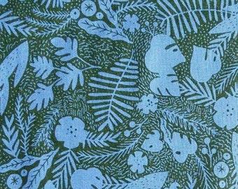 Foliage, blue-mauve, charcoal background, Robert Kaufman, 19560, cotton quilt, cotton designer