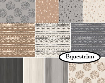 11 FQ, or 11 X 1/4 yard, or 11 X 1/2 yard, 1 of each, Equestrian, Camelot Fabrics, cotton